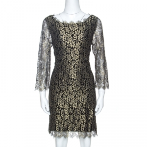 Diane Von Furstenberg Black & Gold Lace Zarita Shift Dress L