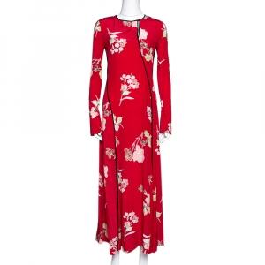 Diane von Furstenberg Red Silk Paneled Bias Floor Length Dress XS