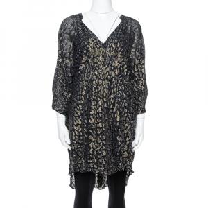 Diane von Furstenberg Black Brocade Ruched Fleurette Tunic Dress M