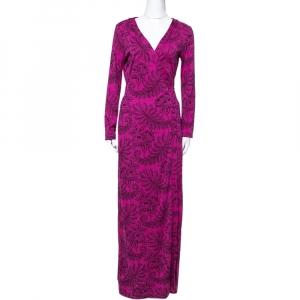 Diane Von Furstenberg Pink Silk Jersey New Julian Long Banded Wrap Dress M