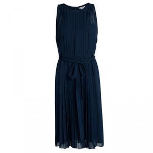 فستان ديان فون فرستنبيرغ ريا بليسيه أزرق كحلي بحزام بلا أكمام L