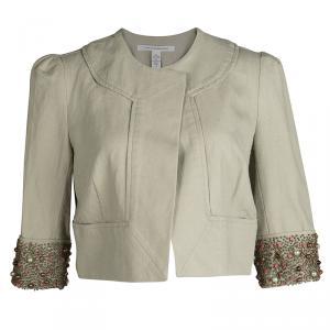 Diane Von Furstenberg Beige Embellished Cuff Front Open Cropped Remo Jacket L