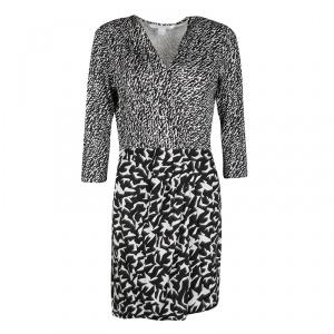 Diane Von Furstenberg Monochrome Printed Silk Jersey Wrap Effect Melodi Dress M - used