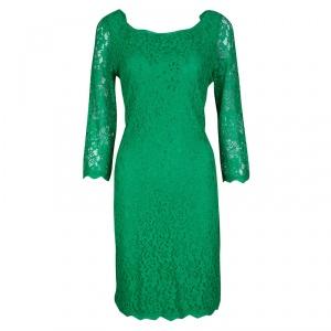 Diane Von Furstenberg Green Zarita Long Sleeve Lace Dress L used