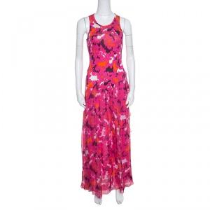 Diane Von Furstenberg Pink Silk Eden Garden Printed Davina Maxi Dress S - used