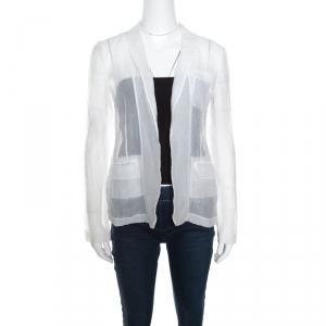 Diane Von Furstenberg Off White Crinkled Sheer Christian Blazer S