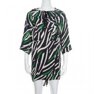Diane Von Furstenberg Multicolor Striped Silk Tie Detail Kangou Tunic S - used