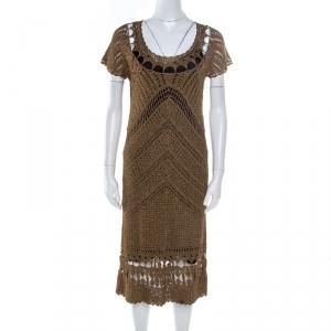 Diane Von Furstenberg Dull Gold Perforated Crochet Knit Kalakaua Dress L - used