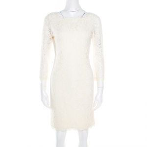 Diane Von Furstenberg Cream Long Sleeve Zarita Lace Dress S - used