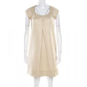 Diane Von Furstenberg Gold Jacquard Inverted Pleat Detail Ayuka Dress S - used