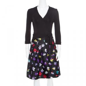 Diane Von Furstenberg Black Floral Printed Wool and Silk Jewel Wrap Dress M - used