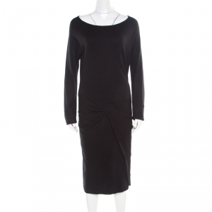 Diane Von Furstenberg Black Knit Twist Front Detail Long Sleeve Eleonora Dress L - used