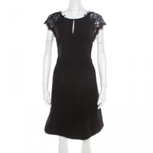 Diane von Furstenberg Black Floral Lace Bodice Detail Maddie Dress L - used