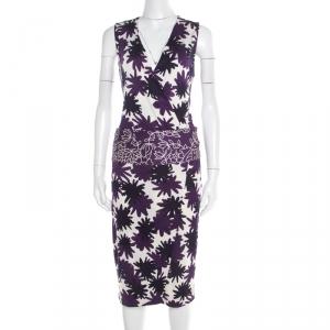 Diane Von Furstenberg Purple Asterisk Meadow Printed Silk Jersey Sirena Dress M - used