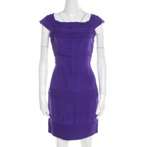 Diane von Furstenberg Purple Pleated Silk Square Neck Merle Dress S - used