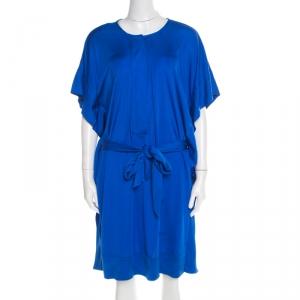 Diane Von Furstenberg Cobalt Blue Silk Jersey Belted Tuvallu Kaftan Dress M - used