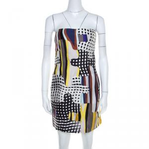 Diane Von Furstenberg Multicolor Optic Plaid Print Maria Strapless Mini Dress S - used