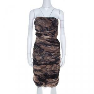 Diane Von Furstenberg Brown Silk Chiffon Strapless Lele Dress S - used