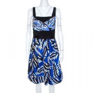 Diane von Furstenberg Blue Printed Cotton Silk Blend Sita Dress L - used