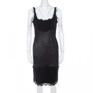 Diane Von Furstenberg Silver and Black Lace Paneled Olivette Sheath Dress M - used