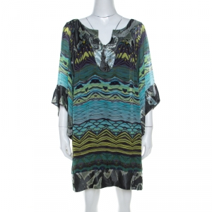 Diane Von Furstenberg Blue Deco Print Silk Tabalah Tunic Dress M - used