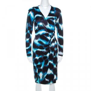Diane Von Furstenberg Blue Printed Silk Wrap Begona Dress M - used