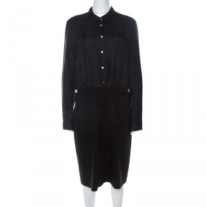 Diane von Furstenberg Black Silk & Wool Full Sleeve Retro Dinna Dress L - used