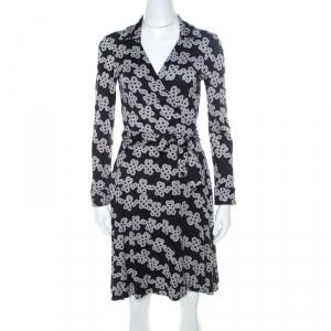 Diane Von Furstenburg Black & White Love Knot Print T72 Wrap Dress M - used