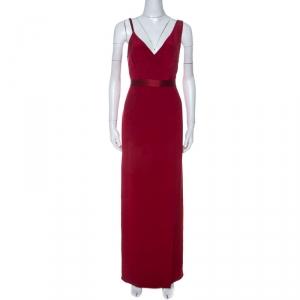 Diane von Furstenberg Red Silk Asymmetric Side Slit Gown S used