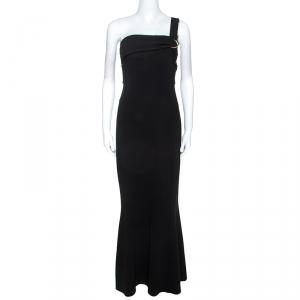 Diane Von Furstenberg Black Stretch One Shoulder Asymmetric Dress L - used