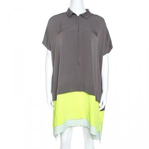Diane von Furstenberg Grey Silk Contrast Trim Hatsu Colorblock Dress S - used
