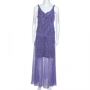 Diane Von Furstenberg Purple Printed Chiffon Tadd Maxi Dress M - used