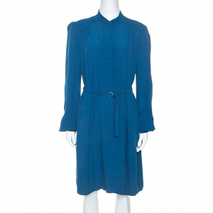 Diane Von Furstenberg Teal Crepe Long Sleeve Tunisia Dress L - used