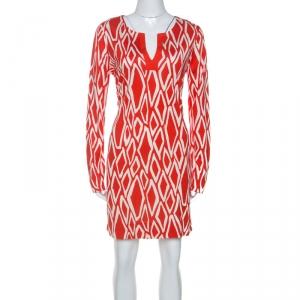 Diane Von Furstenberg Coral Red Ikat Print Silk Reina Long Sleeve Dress L - used