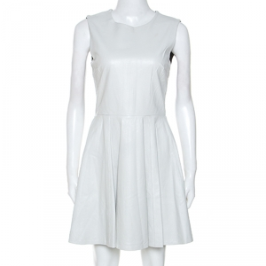 Diane Von Furstenberg White Jeannie Leather Fit And Flare Dress S - used