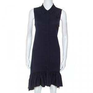 Diane Von Furstenberg Navy Blue Stretch Silk Lanzi Dress M - used