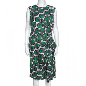Diane Von Furstenberg Green Printed Silk Ruffled Talba Dress L - used