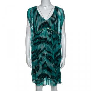Diane Von Furstenberg Green Printed Silk Embellished Simea Dress M - used