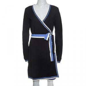 Diane Von Furstenberg Black Knit Striped Detail Wrap Dress S - used