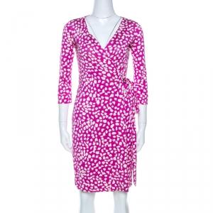 Diane Von Furstenberg Pink Printed Silk New Julian Two Wrap Dress XS - used
