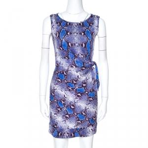 Diane Von Furstenberg Blue Python Print Silk Jersey Della Dress XS - used