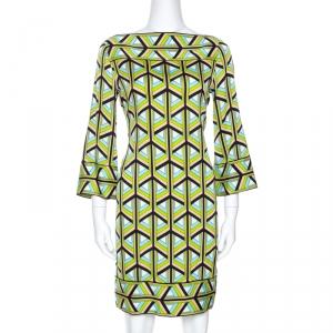 Diane Von Furstenberg Green Printed Silk Andati Shift Dress S - used