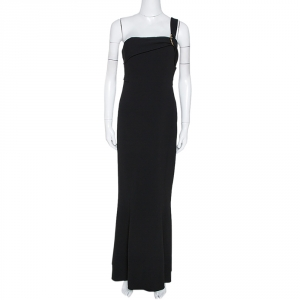 Diane von Furstenberg Black Fluid Crepe One Shoulder Gown L used