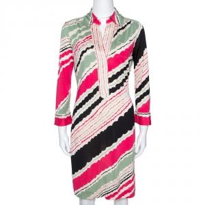 Diane Von Furstenberg Multicolor Printed Silk Jersey Polo Dress M - used
