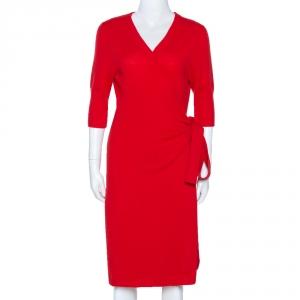 Diane Von Furstenberg Red Cashmere Coen Wrap Dress L