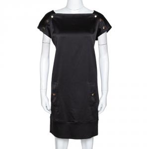 Diane von Furstenberg Black Textured Silk Pisco Shift Dress M - used