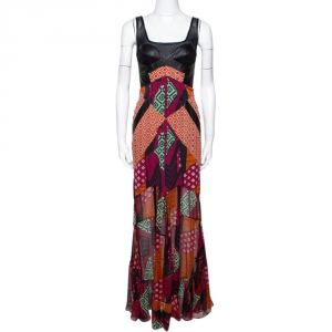 Diane Von Furstenberg Multicolor Printed Silk Leather Trim Serena Dress S - used
