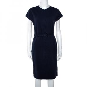 Diane von Furstenberg Navy Blue Belted Maizah Dress M