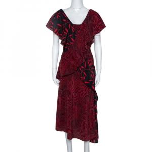 Diane Von Furstenberg Red Printed Silk Cross Over Ruffle Detail Midi Dress S - used