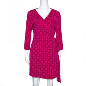 Diane von Furstenberg Pink Floral Print New Julian Two Mini Wrap Dress M - used